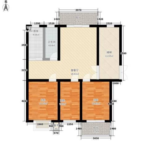 金榜华庭3室1厅1卫1厨122.00㎡户型图