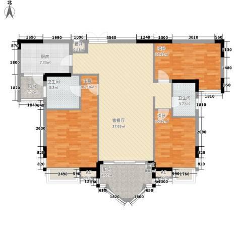 松山湖紫檀山别墅3室1厅2卫1厨151.00㎡户型图