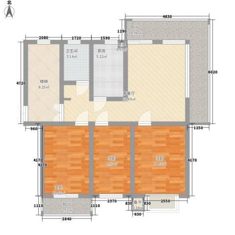 金榜华庭3室1厅1卫1厨118.00㎡户型图