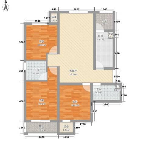 龙泽国际3室1厅2卫1厨99.00㎡户型图