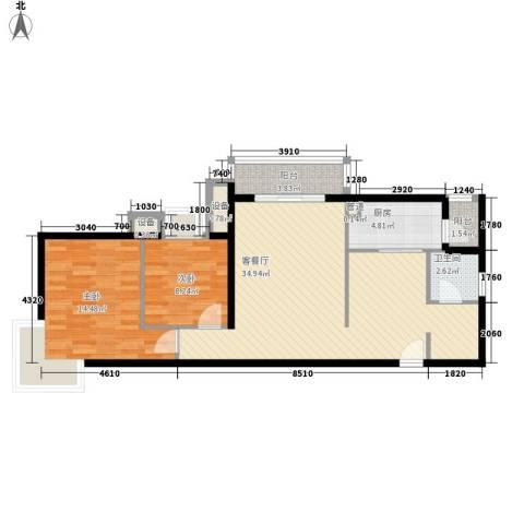 梦泽园别墅2室1厅1卫1厨103.00㎡户型图