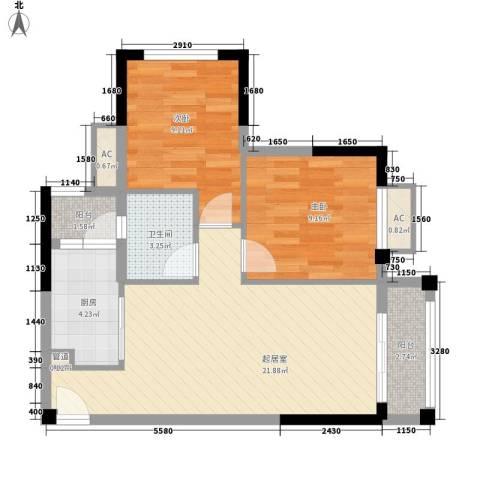 保利百合花园2室0厅1卫1厨73.00㎡户型图