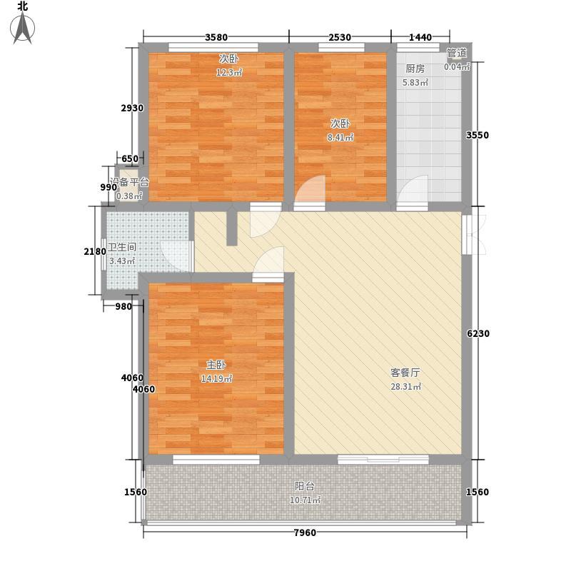 金榜华庭峰层多层 3室2厅1卫1厨 120.40㎡