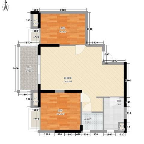 厚街盛和广场2室0厅1卫1厨58.13㎡户型图