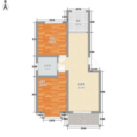 龙云家园2室0厅1卫1厨89.00㎡户型图