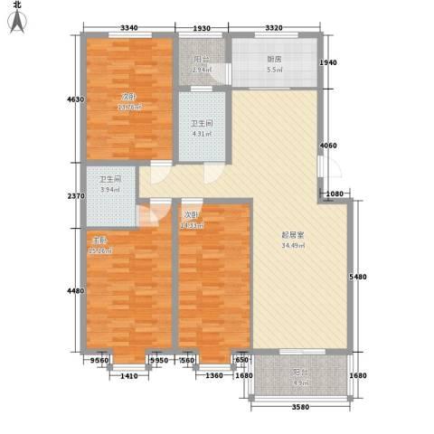 龙云家园3室0厅2卫1厨139.00㎡户型图