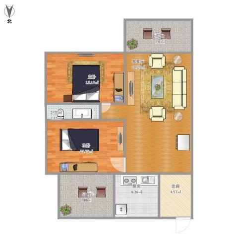 环湖花园2室1厅1卫1厨112.00㎡户型图