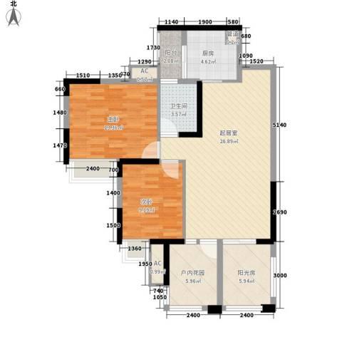 世纪城幸福公馆2室0厅1卫1厨84.00㎡户型图