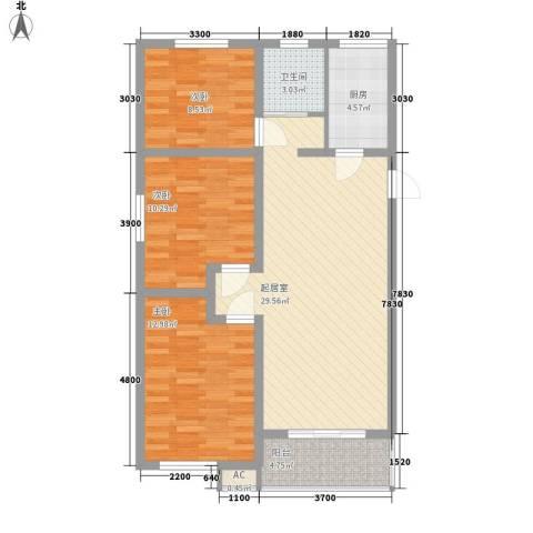 未来城3室0厅1卫1厨86.00㎡户型图