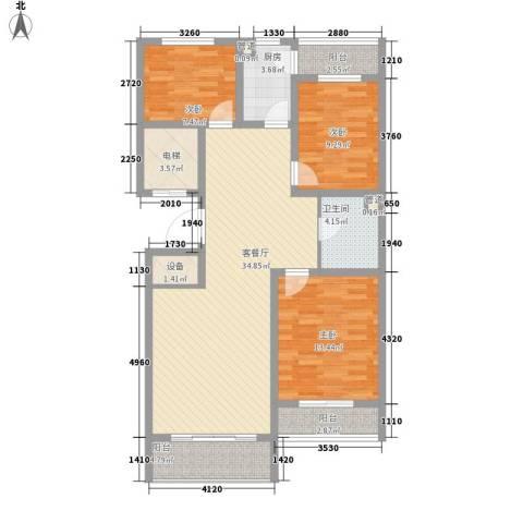 云华园3室1厅1卫1厨129.00㎡户型图