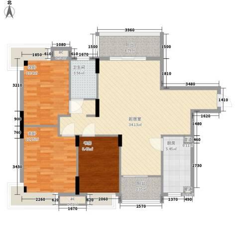 银厦翠竹庭院3室0厅1卫1厨118.00㎡户型图