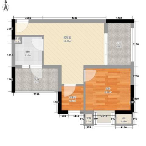 丽骏豪庭1室0厅1卫1厨47.26㎡户型图