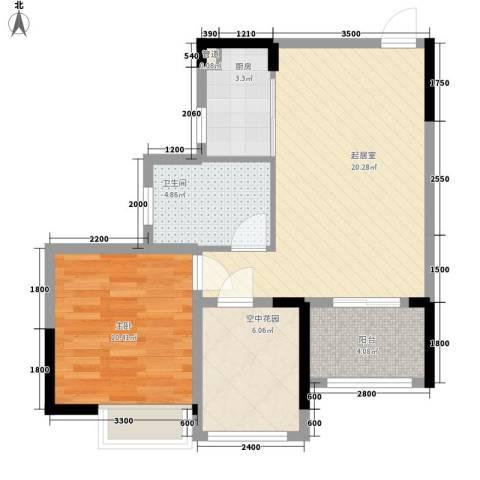 广东街三期1室0厅1卫1厨70.00㎡户型图