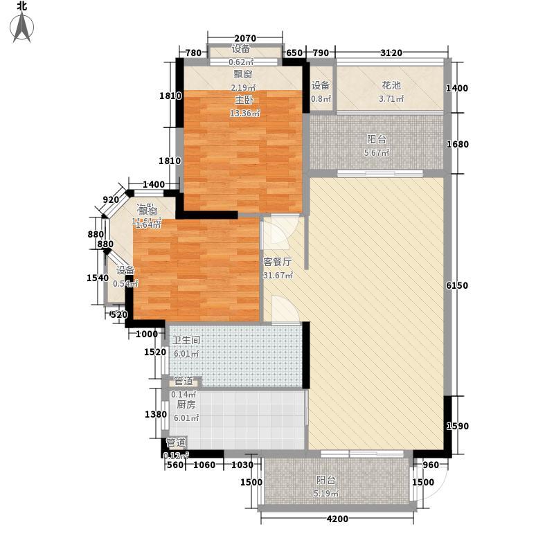 英伦89.92㎡1栋、11栋、12栋B3户型2室2厅1卫1厨
