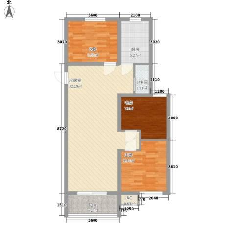 未来城3室0厅1卫1厨101.00㎡户型图