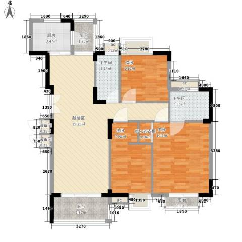 东泰花园泰华苑3室0厅2卫1厨103.00㎡户型图