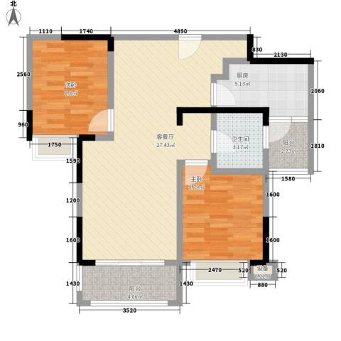 丰泰城市公馆2室1厅1卫1厨85.00㎡户型图