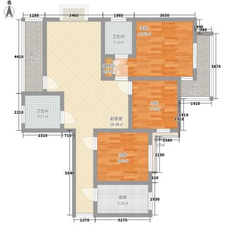 东泰花园泰华苑3室0厅2卫1厨118.00㎡户型图