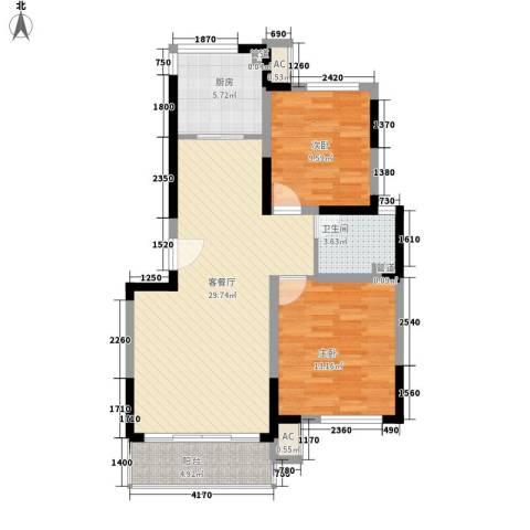 凯运天地2室1厅1卫1厨98.00㎡户型图