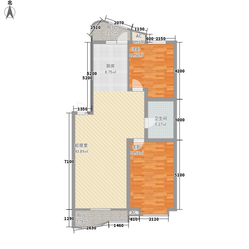 保利颐和家园B户型2室1厅1卫1厨