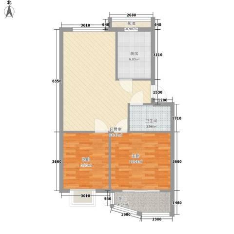 怡静园2室0厅1卫1厨87.00㎡户型图