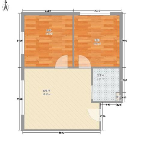 烽火B区2室1厅1卫0厨54.00㎡户型图