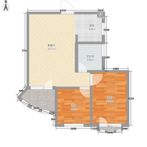 众益阳光海岸2室1厅1卫0厨56.00㎡户型图