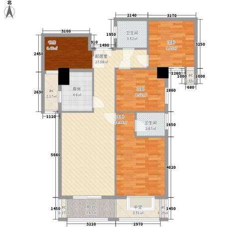 凯仑帝景4室0厅2卫1厨126.00㎡户型图
