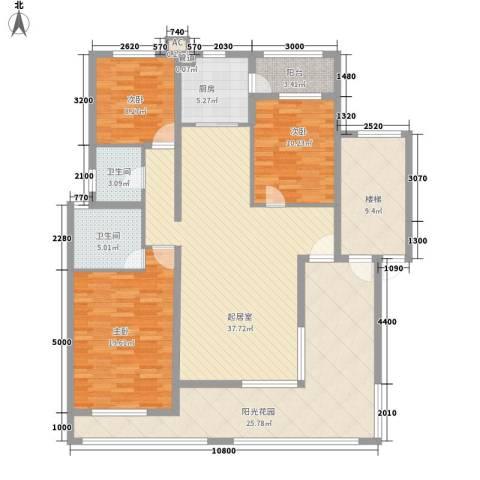 珠江国际城别墅3室0厅2卫1厨131.00㎡户型图