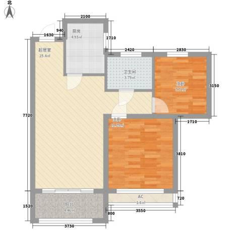 爱伦坡2室0厅1卫1厨69.00㎡户型图