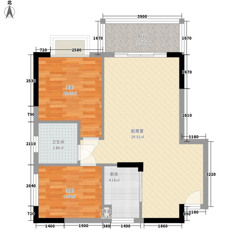 腾龙湾80.14㎡A1-13栋B户型2室2厅1卫1厨