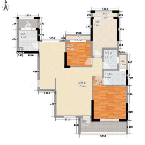 保利百合花园2室0厅2卫1厨116.00㎡户型图