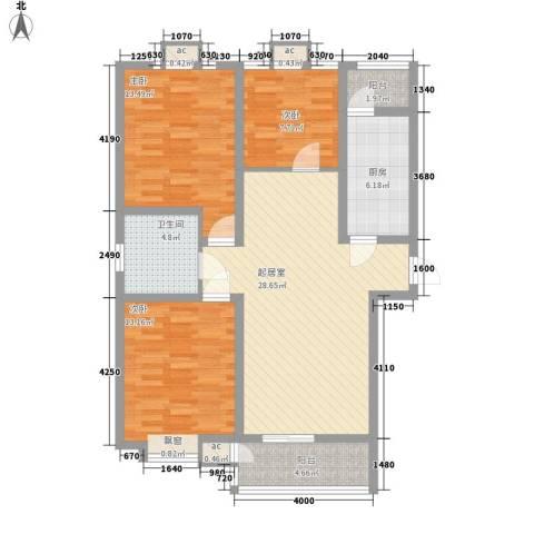 中建御邸世家3室0厅1卫1厨124.00㎡户型图