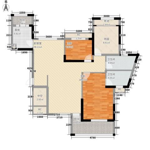 保利百合花园2室0厅2卫1厨123.00㎡户型图