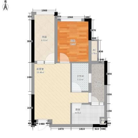 保利百合花园1室0厅1卫1厨49.00㎡户型图