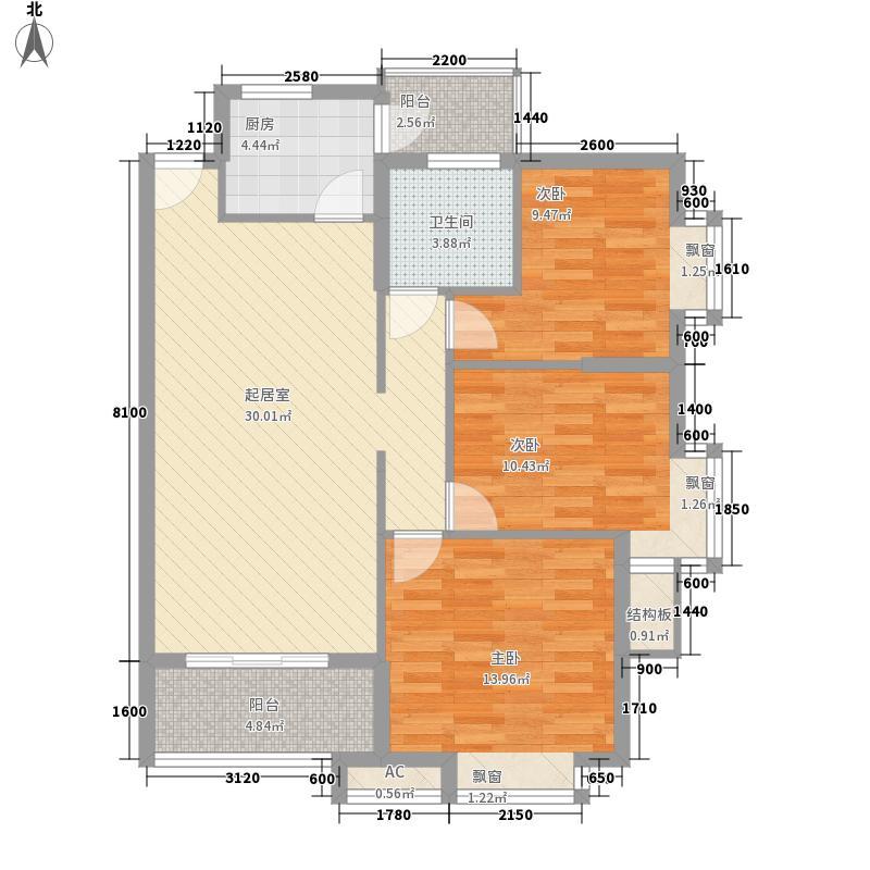 乐然水畔70.00㎡乐然水畔户型图8、10座3、5、7、11层01单位73室2厅1卫1厨户型3室2厅1卫1厨
