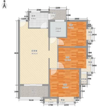 乐然水畔3室0厅1卫1厨81.06㎡户型图