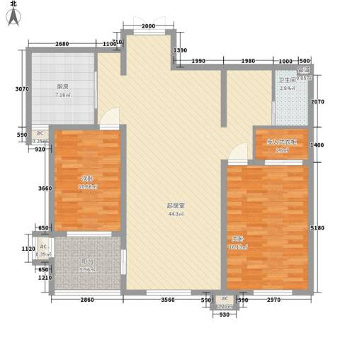 峰汇公馆2室0厅1卫1厨128.00㎡户型图