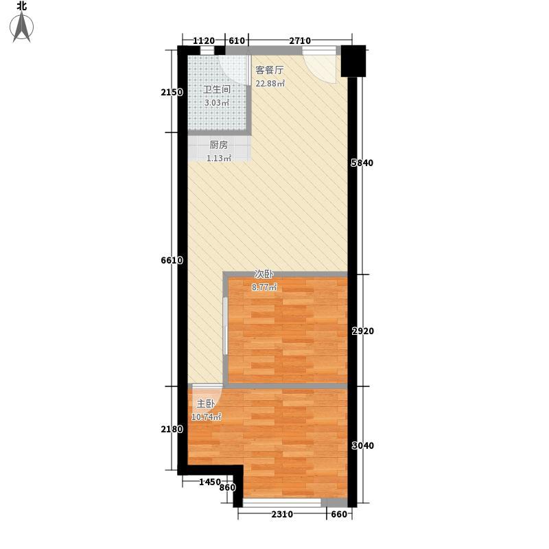 克拉公寓64.39㎡克拉公寓户型图户型三2室1厅1卫1厨户型2室1厅1卫1厨