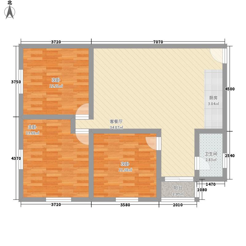 克拉公寓106.14㎡克拉公寓户型图户型一3室1厅1卫1厨户型3室1厅1卫1厨