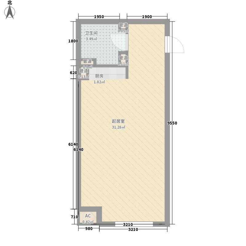 鹏利广场花园50.69㎡鹏利广场花园户型图质感贵邸1室1厅1卫户型1室1厅1卫