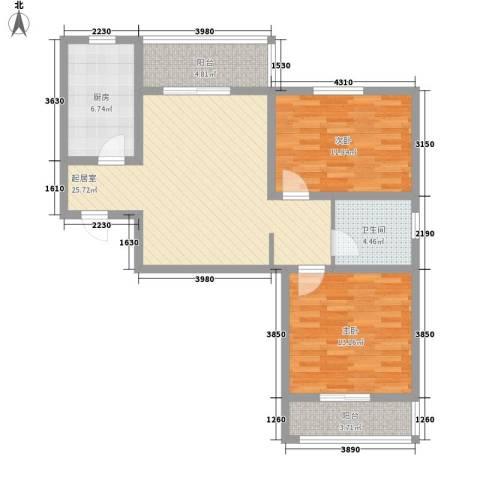 红星桃花源2室0厅1卫1厨70.43㎡户型图