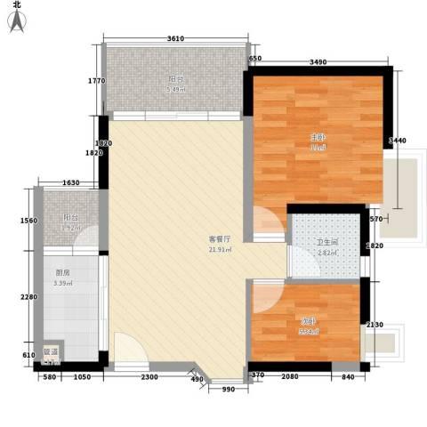 阳光花园五期2室1厅1卫1厨75.00㎡户型图