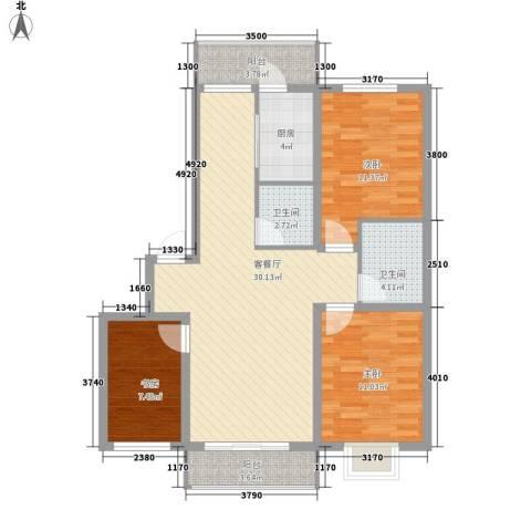 泰华林庄园3室1厅2卫1厨113.00㎡户型图