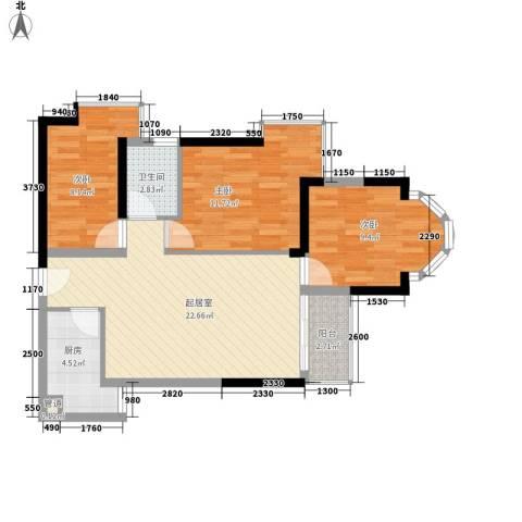 阳光花园五期3室0厅1卫1厨89.00㎡户型图