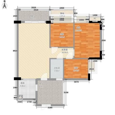 流花君庭3室0厅1卫1厨91.26㎡户型图