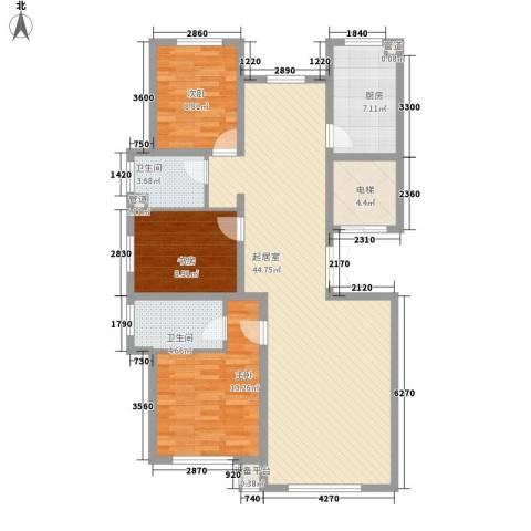 中和文化广场3室0厅2卫1厨139.00㎡户型图
