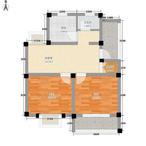 杨木桥小区2室0厅1卫1厨76.00㎡户型图