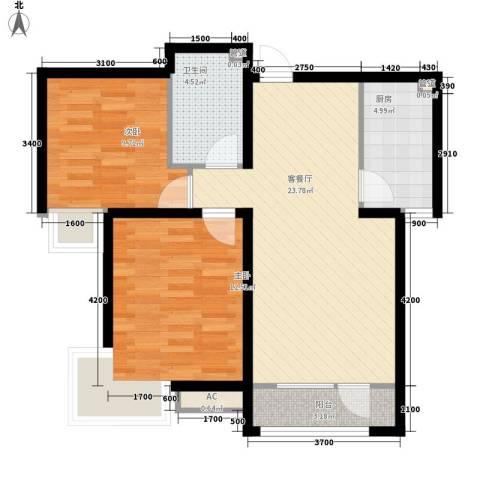新天地C座2室1厅1卫1厨85.00㎡户型图