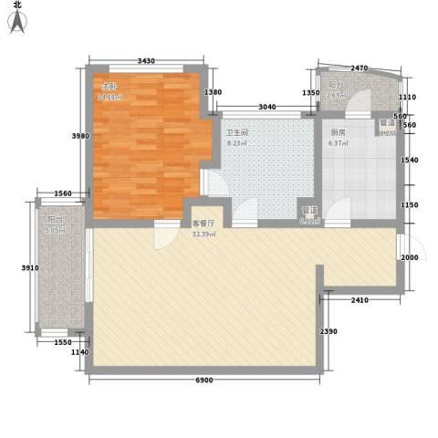 瑞苑公寓1室1厅1卫1厨102.00㎡户型图